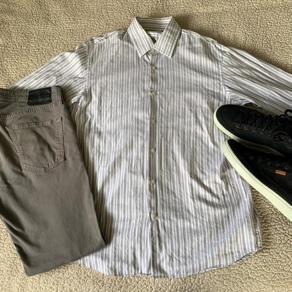Hugo Boss Other - Hugo Boss Button Up Dress Shirt White & Gray VGC